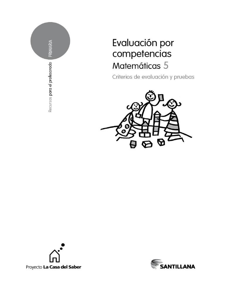 Santillana Matematicas Evaluacion Por Competencias Quinto De Primaria Pdf Evaluación Plan De Estudios