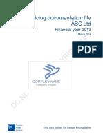 Transfer Pricing Documentation File Template