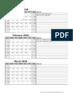 2019 Quarterly Calendar 12p