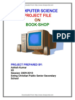 Cbse Class Xii Computer Science Project File on Book Shop 2010 Exam