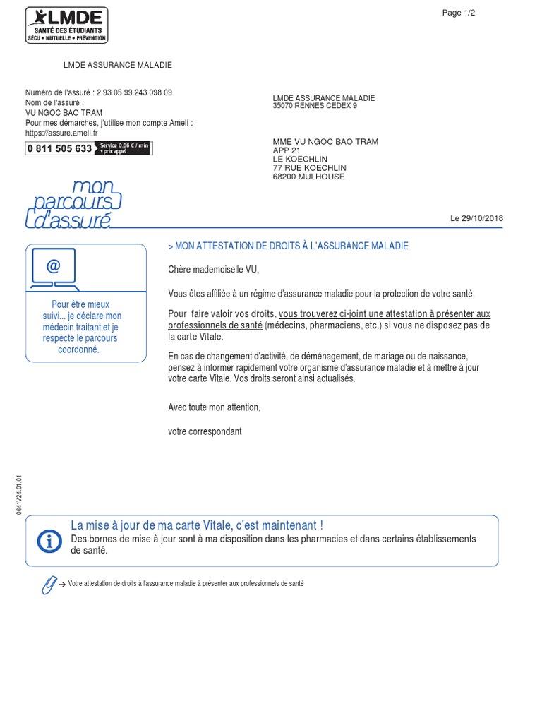 Carte Assurance Maladie Naissance.Attestation Droit S