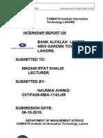 Internship Report on Bank alfalah New Garden Town Lahore.