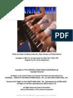 Mamma Mia 6 Hand Piano Arrangement
