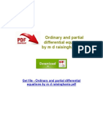 Ordinary and Partial Differential Equations by m d Raisinghania PDF