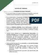 Documento de Gestión del Gobierno del Gabinete de Sánchez