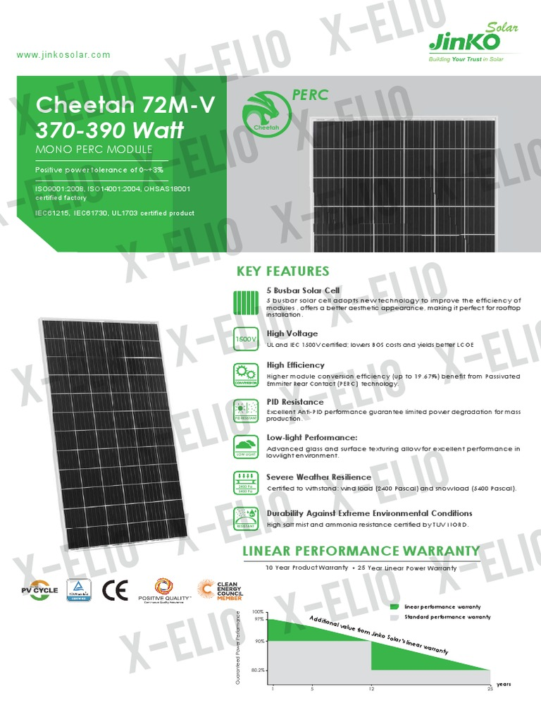 En Cheetah Perc 72m 370-390w-V (for X-elio) | Solar Cell