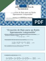 Ecuación de Flujo Para Un Fluido Ligeramente Compresible