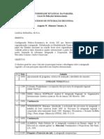 Ementa Processos de Integração Regional 2010.2