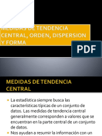 Medidas de Tendencia Central Orden Dispersion