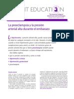 10.  GINECOLOGIA Y OBSTETRICIA. La preeclampsia y la presión arterial alta durante el embarazo. Patient Education Pamphlet- ACOG. 2009