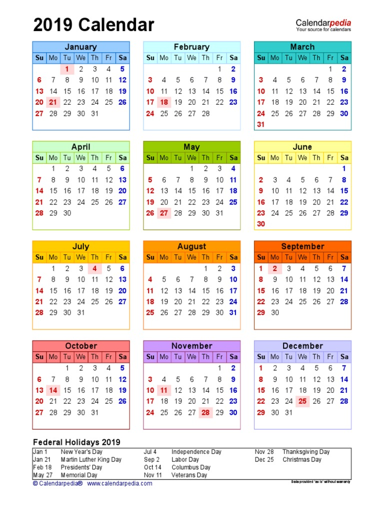 2019 Calendar Portrait Year At A Glance In Color Observances