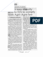 Manila Bulletin, Feb. 14, 2019, Banks may directly lend to DA to comply with Agri-Agra law.pdf