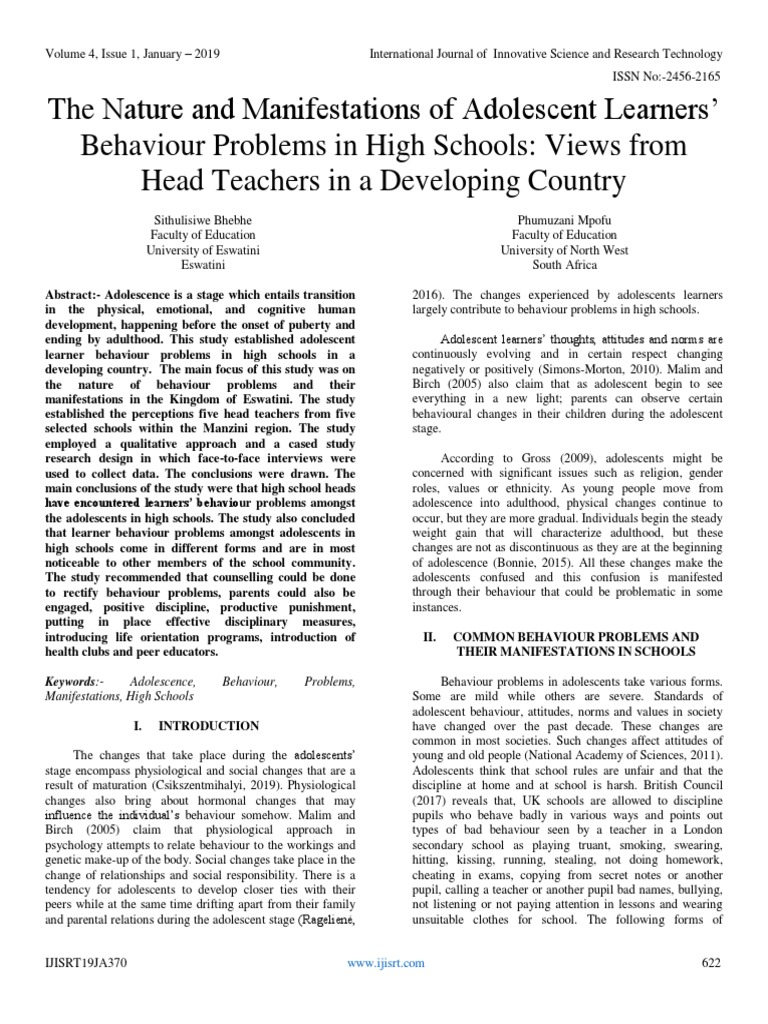 The Nature and Manifestations of Adolescent Learners' Behaviour