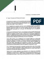 Carta d'eurodiputats del PP, PSOE i Cs al president del Parlament Europeu, Antonio Tajani.