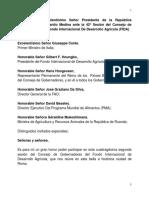 Discurso del presidente Danilo Medina Medina ante La 42o Sesión del Consejo de Gobernadores del Fondo Internacional de Desarrollo Agrícola (FIDA)