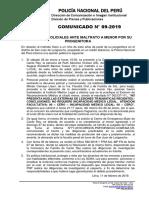 COMUNICADO PNP N° 09 - 2019
