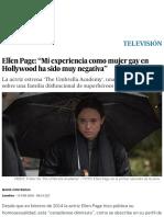 """Ellen Page_ """"Mi Experiencia Como Mujer Gay en Hollywood Ha Sido Muy Negativa"""" _ Televisión _ EL PAÍS"""
