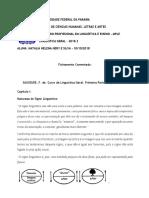 Fichamento Comentado Curso de Linguística Geral - Saussure