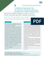 Proposição e reprodutibilidade de uma escala de dor na coluna cervical, torácica e lombar em jovens brasileiros