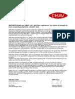 SMS OMAV Announcement 19102011Rev1