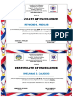 Sample Honor Certificate