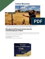 Moradores de Paracatu Temem Risco de Contaminação Por Arsênio