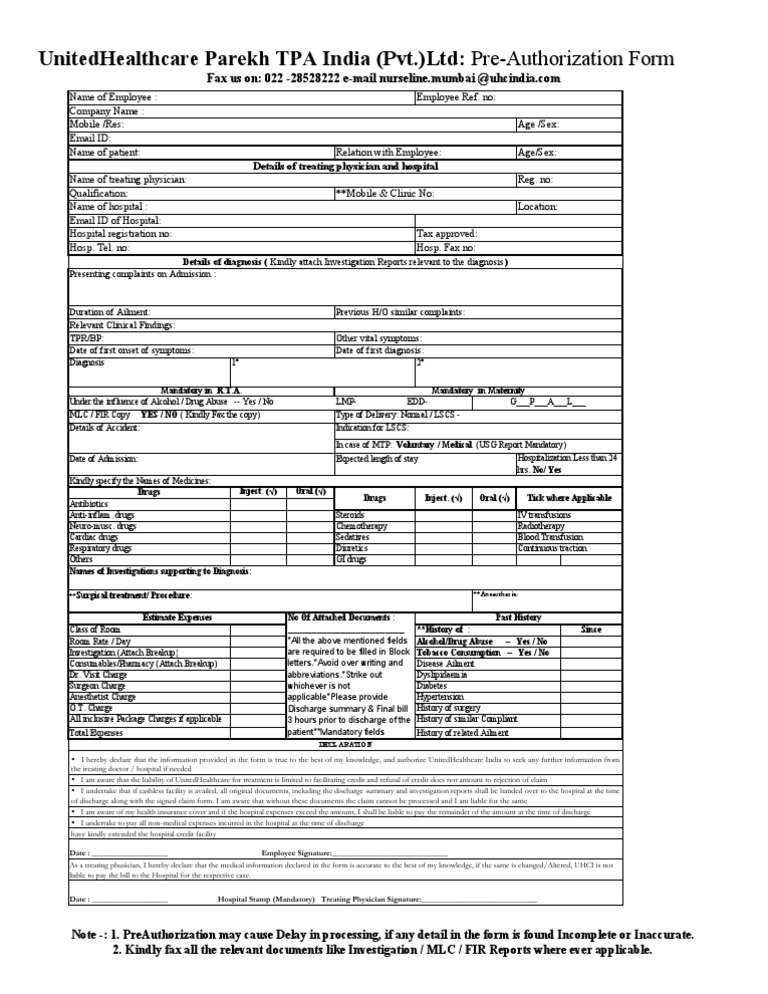 Pre Authorization Form  Hospital  Medical Diagnosis