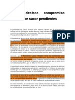 Alfaro Destaca Compromiso Federal Por Sacar Pendientes
