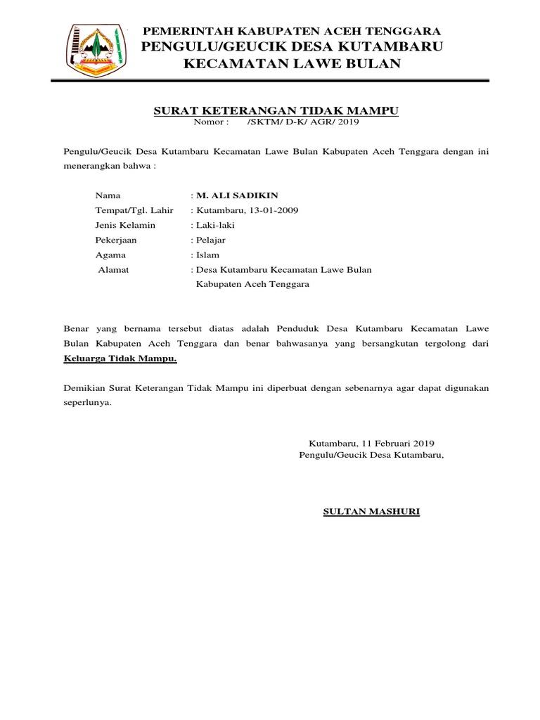Surat Keterangan Tidak Mampu Desa Lawe Rutung 2013