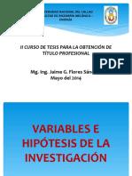 Variables e Hipótesis de La Investigación