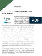 Innovative Power Amplifier for a MEMS-based Energy Harvester - Energy Harvesting Journal
