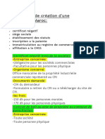 Liste de Documents Constitution de Societe