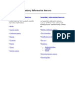 Primary and Secondary Information Sources
