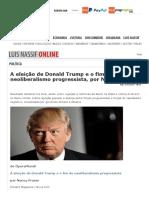 Eleição de Donald Trump e o fim do neoliberalismo progressista