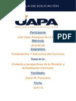 Contexto y Perspectivas de La Revisión y Actualización Curricular.