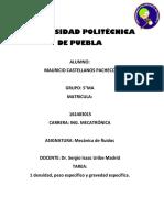 Mecanica de Fluidos Tarea 1 Mauricio Castellanos