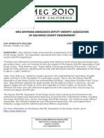 Meg Whitman Announces Deputy Sheriffs' Association Of San Diego County Endorsement