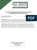 Meg Whitman Announces Endorsement Of Influential Asian American Group 80‐20 Initiative