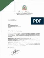 Carta de felicitación del presidente Danilo Medina a Fausto Rosario Adames por octavo aniversario del periódico digital Acento
