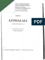 Polotsky, H. J. - Kephalaia. Band 1 - 1. Hälfte (Lieferung 1-10)
