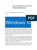 Cómo Desactivar Completamente y de Forma Permanente Windows Defender en Windows 10