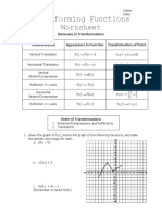 Transforming Functions Worksheet