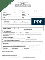 Formulario de Matricula Seminario, Proyecto o Tesis