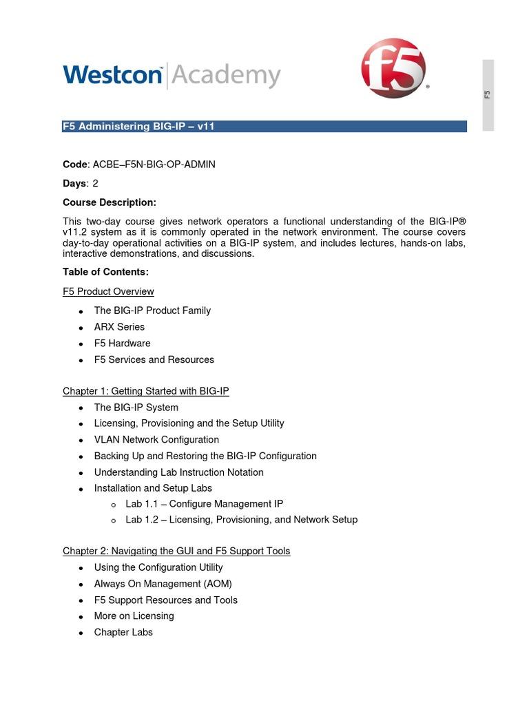 F5 Administering BIG-IP pdf   Firewall (Computing