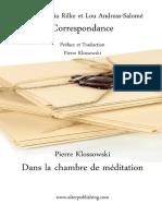 576827 Correspondance de Rainer Maria Rilke Et Lou Andreas Salome Extrait