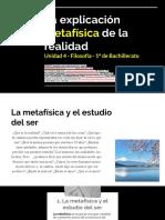 La explicación metafísica de la realidad (presentación en PDF) - 1º BACH