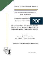 DIAGNÓSTICO SITUACIONAL ENFOCADO A LA ESPECIALIDAD DE PSICOLOGÍA EDUCATIVA DE LA ESCUELA NORMAL SUPERIOR DE MÉXICO