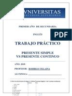 Tp - 1ro Secundaria a - Presente Simple vs Presente Continuo
