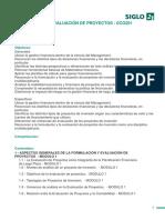 Formulación y Evaluación de Proyectos - Eco201