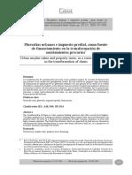 Arcos (2014) Plusvalías Urbanas e Impuesto Predial, Como Fuente de Financiamiento en La Transformación de Asentamientos Precarios